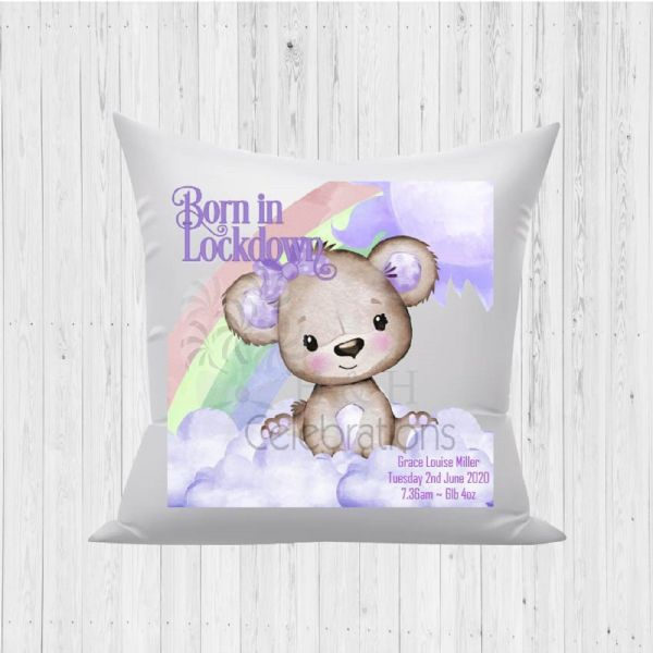 Born In Lockdown Rainbow Bear Violet Baby Birth Stats Cushion